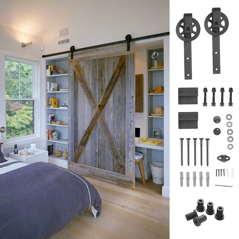Antique Steel Sliding Barn Wood Double Doors Hardware Track Kit Set New 6.6 FT