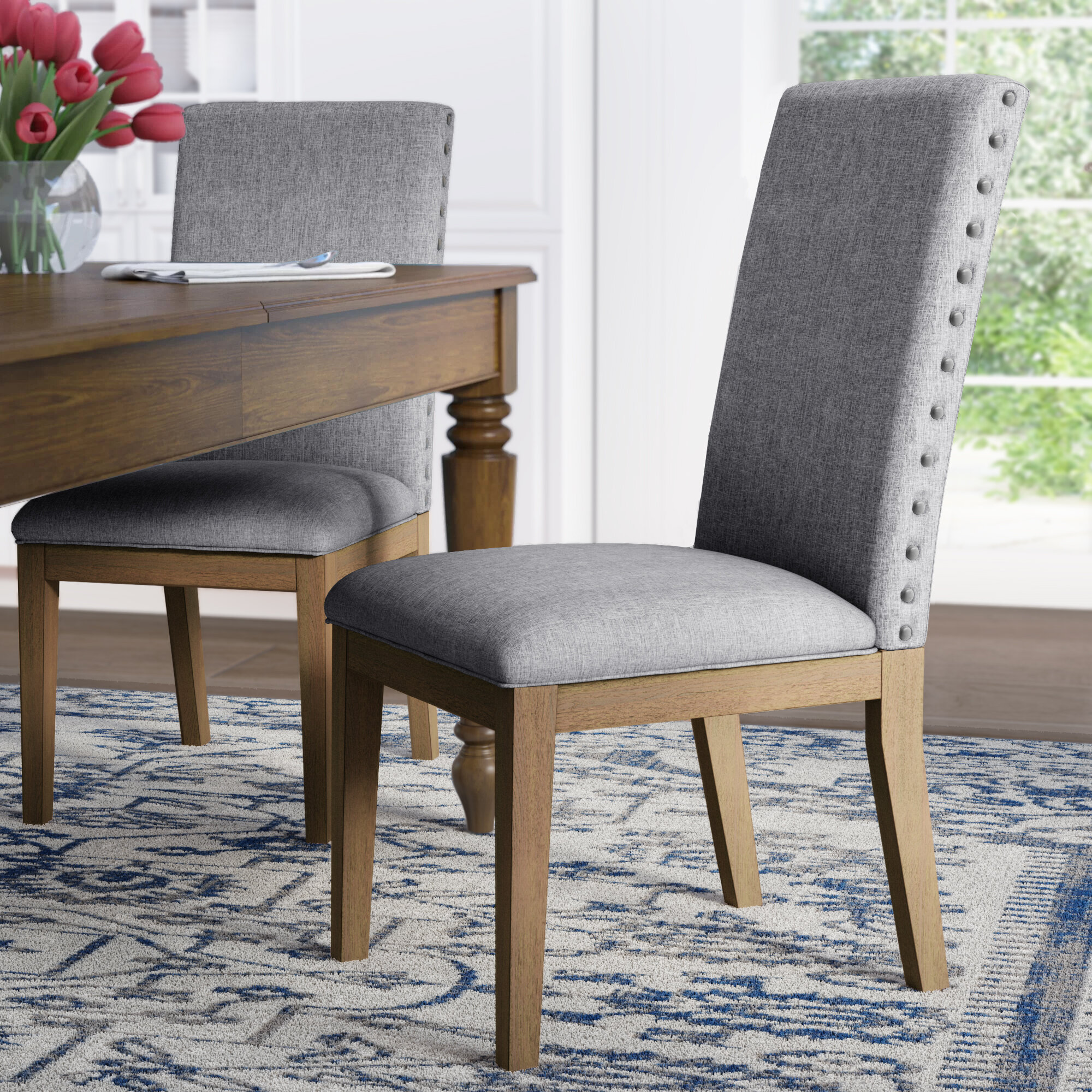 Irving Place Linen Nailhead Upholstered Dining Chair