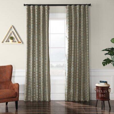 "Half Price Drapes Filigree Flocked Faux Silk Geometric Rod Pocket Single Curtain Panel Colour: Blue, Size per Panel: 50"" W x 120"" L"