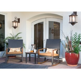 Love 3 Piece Teak/Rattan 2 Person Seating Group with Sunbrella Cushions by Bayou Breeze