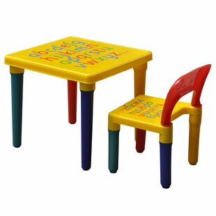 Gilkes Alphabet Printed Children's 2 Piece Table And Chair Set (Set Of 2) By Zoomie Kids