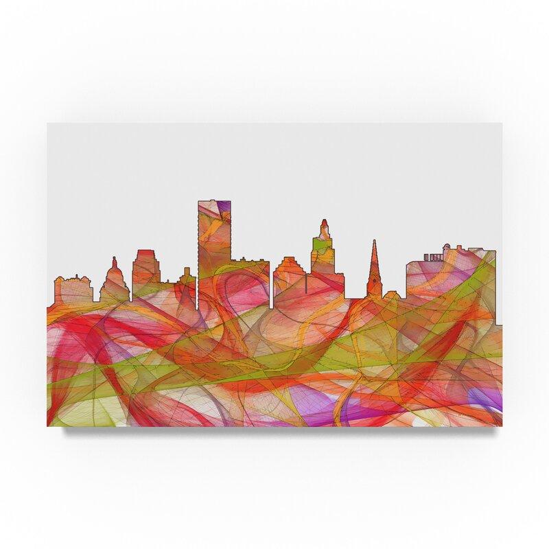 Trademark Art Providence Rhode Island Skyline Swirl Graphic Art Print On Wrapped Canvas Wayfair