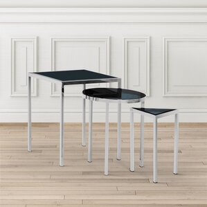 Almaraz Nesting Table Smoked Glass by Everly..