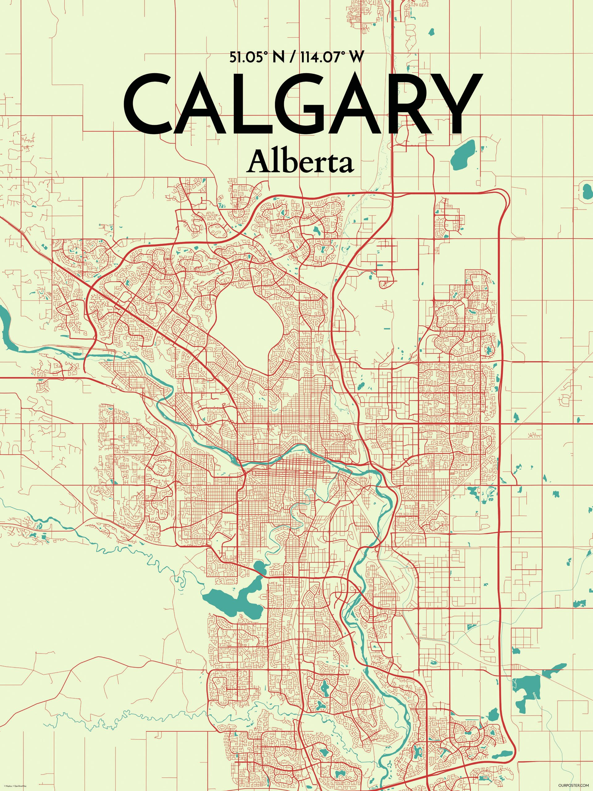 OurPoster.com 'Calgary City Map' Graphic Art Print Poster in ... on