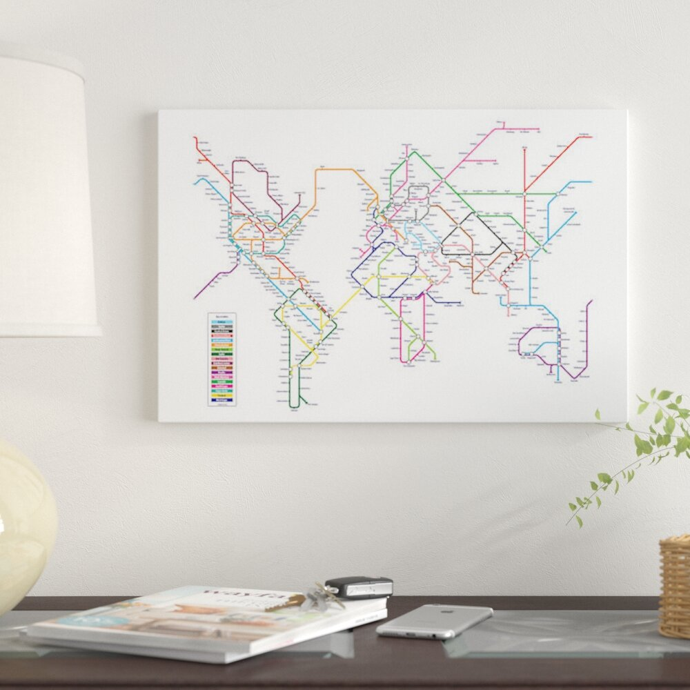 East urban home world metro tube map by michael tompsett graphic east urban home world metro tube map by michael tompsett graphic art print on canvas wayfair gumiabroncs Images