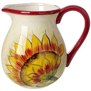 Margret Ceramic Decorative 112 oz. Pitcher
