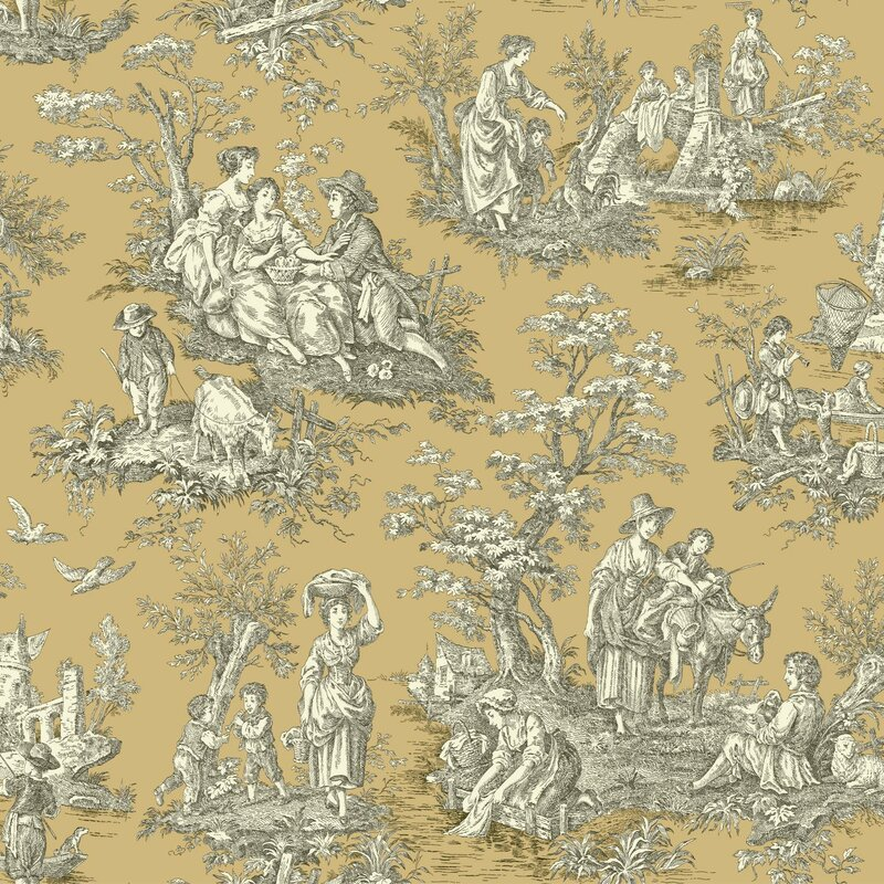 "Waverly Country Life 33' x 20.5"" Toile Wallpaper Roll"
