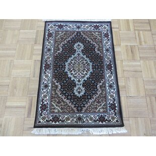 Reviews One-of-a-Kind Beaton Tabriz Hand-Knotted Black Area Rug By Isabelline