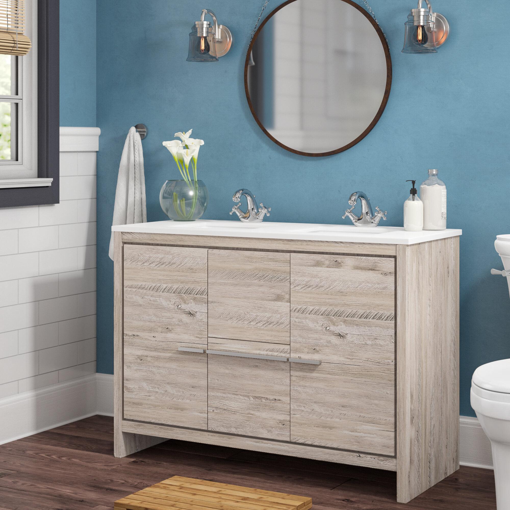 Mercury Row Bosley Modern 48 Double Bathroom Vanity Set Reviews Wayfair