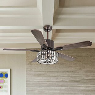 Marini Rustic Crystal 5 Blade Ceiling Fan with Remote, Light Kit Included by House of Hampton