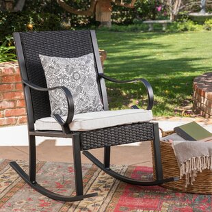 August Grove Kampmann Outdoor Wicker Rocking Chair with Cushions