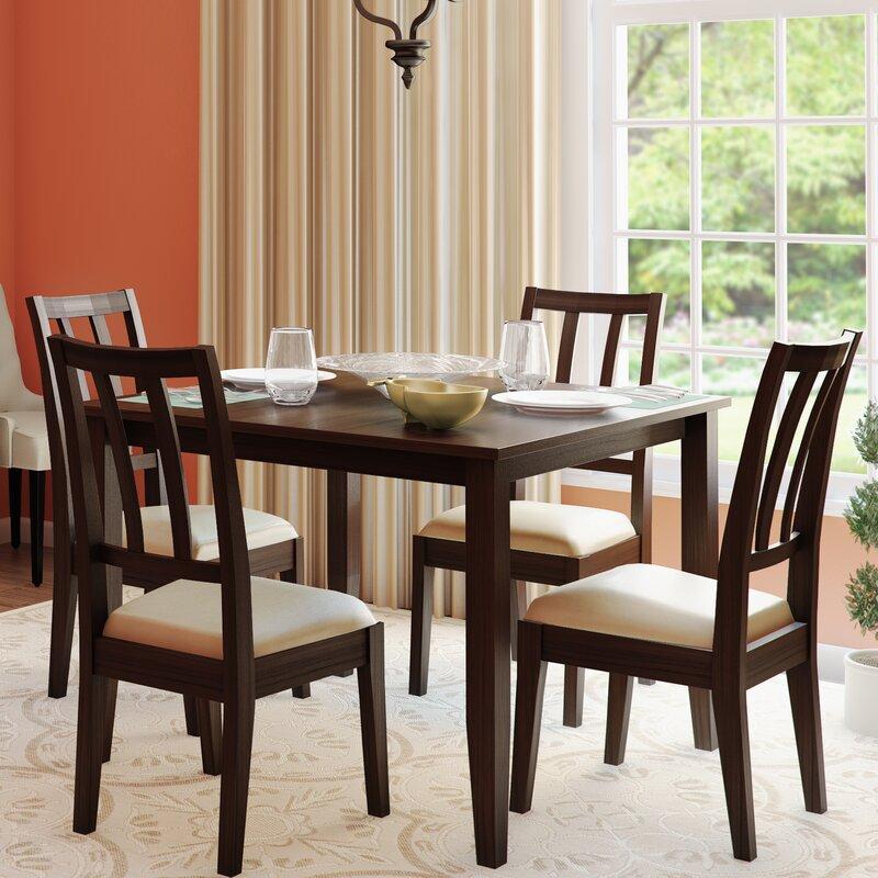 Dining Set Espresso Finish Veneer Wood Table Chairs Beige Microfiber ...