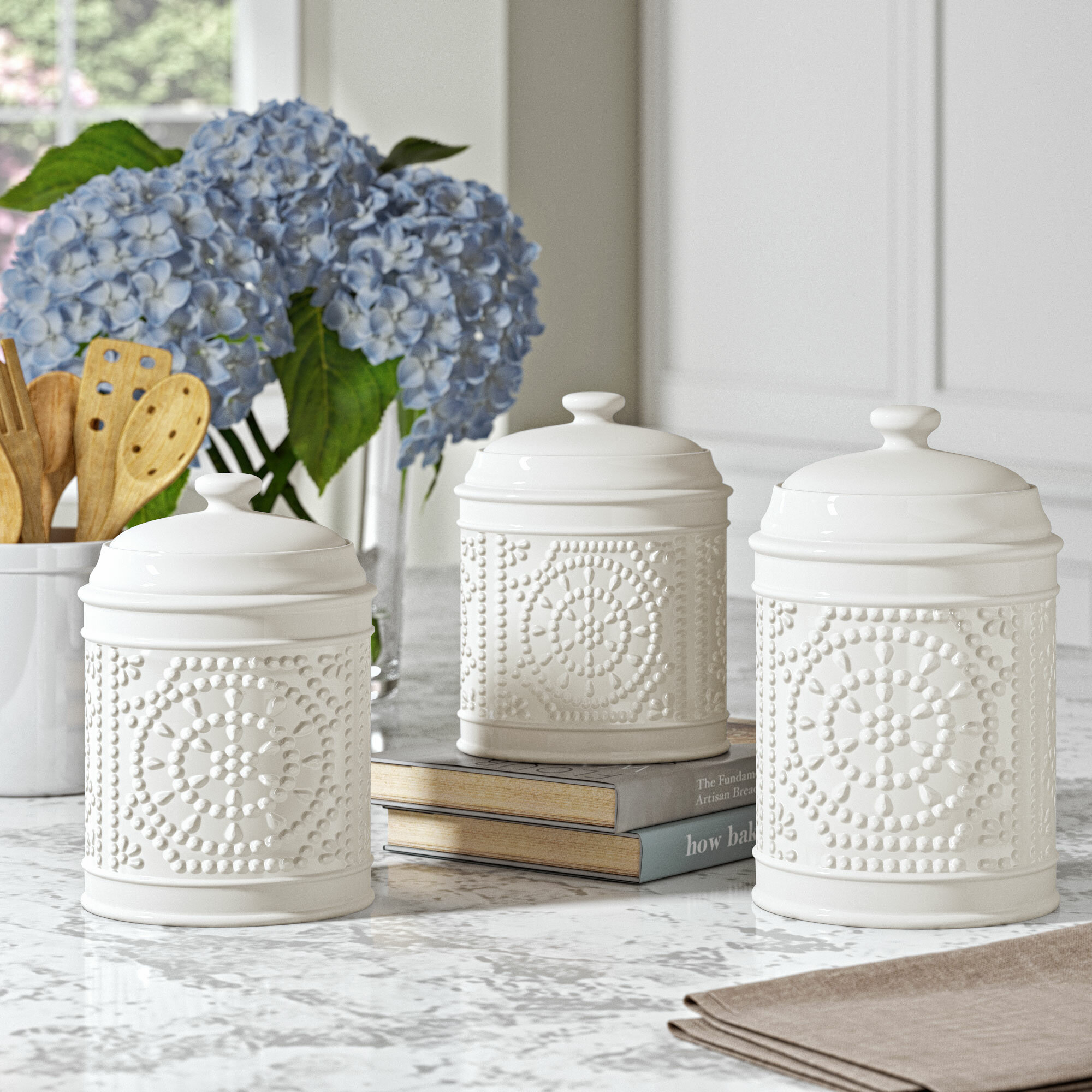 One Allium Way Embossed 3 Piece Kitchen Canister Set Reviews Wayfair