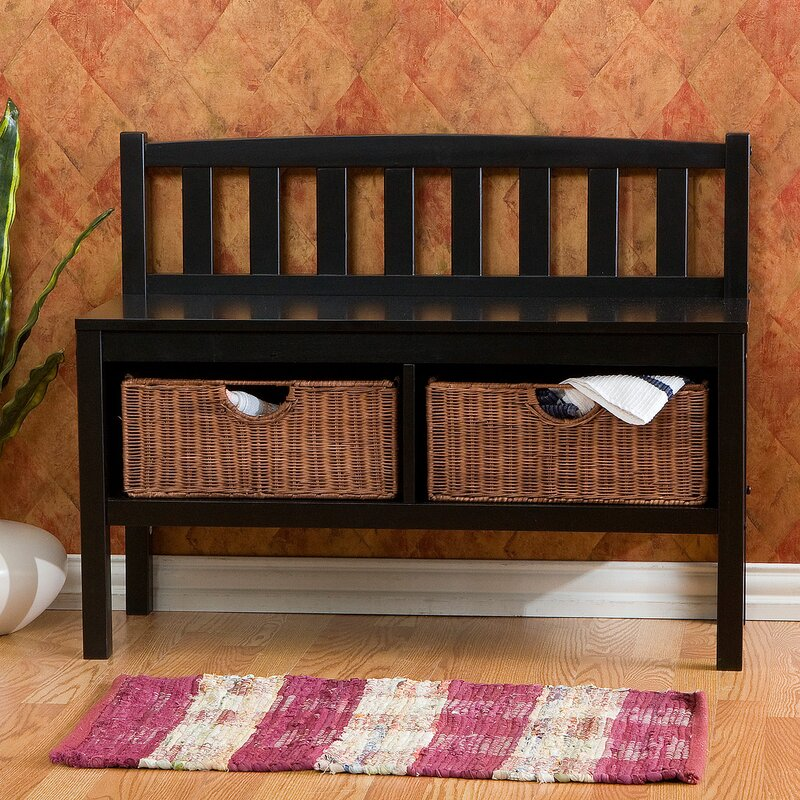 Offerman Storage Bench with Rattan Baskets