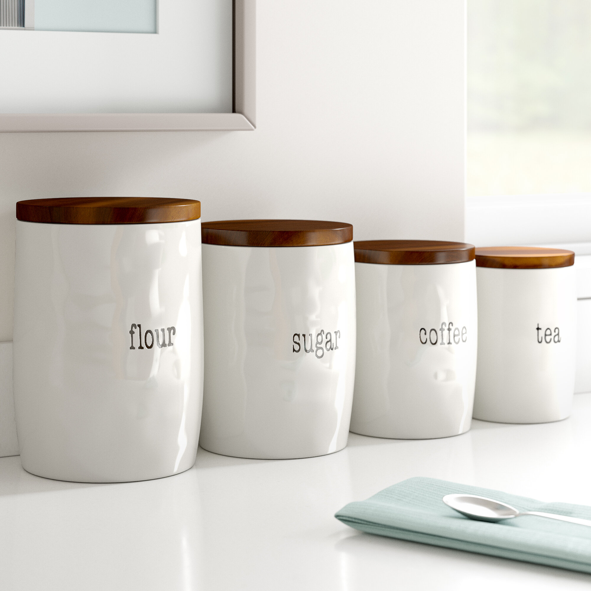 Just Words 4 Piece Kitchen Canister Set