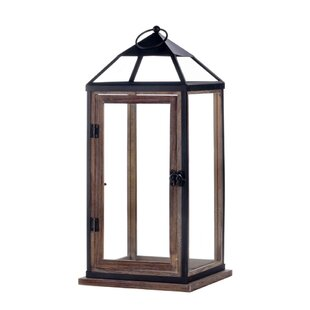 Gracie Oaks Trim Contemporary Glass/Metal Lantern