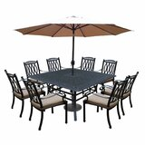Otsego 9 Piece Aluminum Patio Dining Set with Cushions and Umbrella