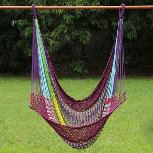 Fair Trade Comfortable Multicolored Hand-Woven Thai Cotton Indoor And Outdoor Swinging Hammock Chair Hammock by Novica