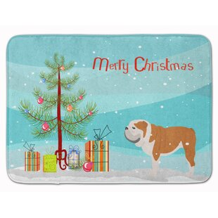 English Bulldog Merry Christmas Tree Memory Foam Bath Rug