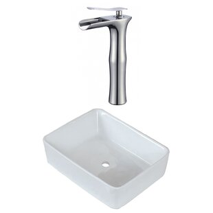 Compare prices Ceramic Rectangular Vessel Bathroom Sink with Faucet ByAmerican Imaginations