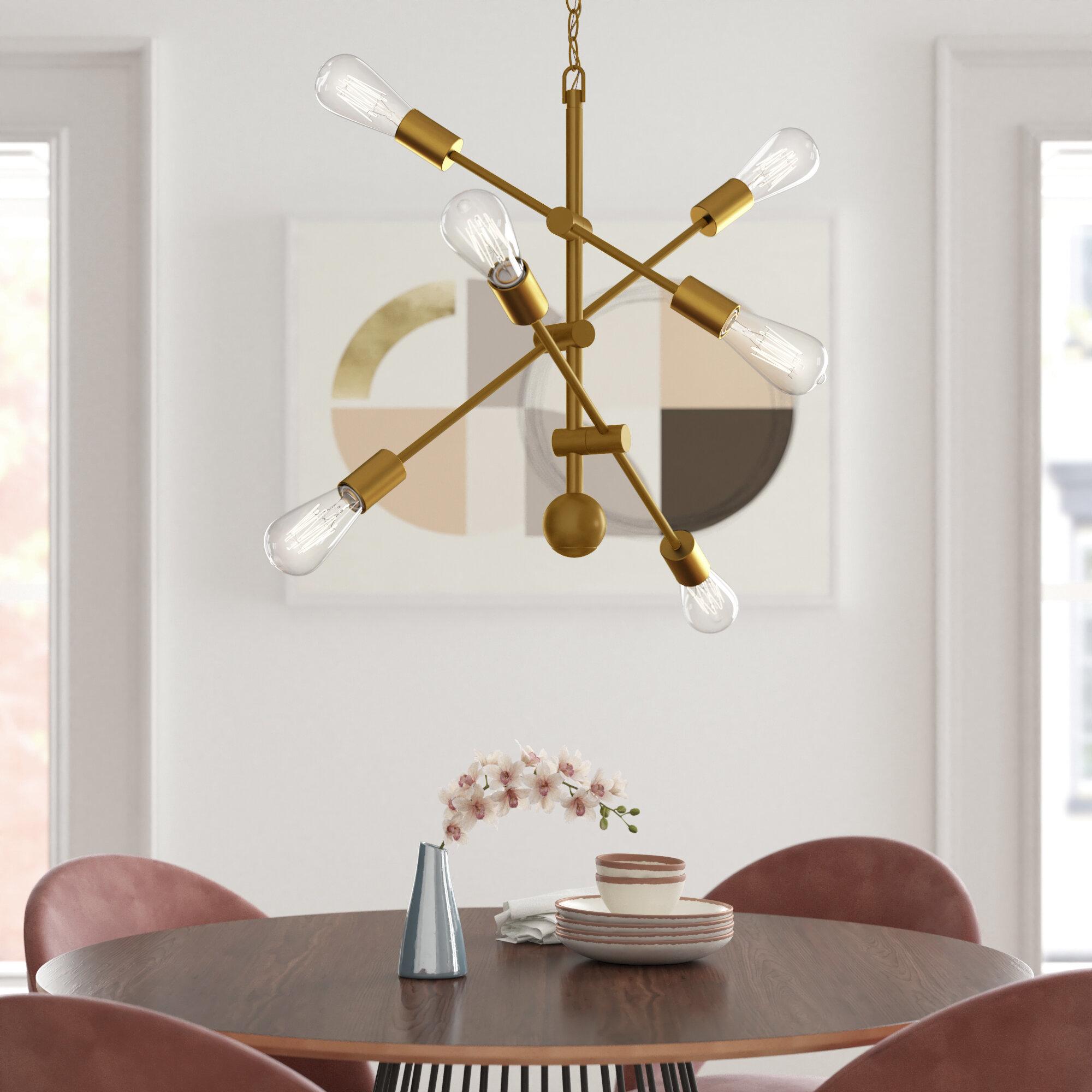 Foundstone Everett 6 Light Sputnik Modern Linear Chandelier Reviews Wayfair