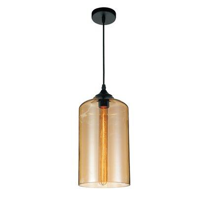 1-light Cylinder Pendant Cwilighting Shade Color: Cognac