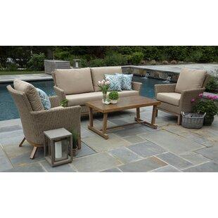 Gracie Oaks Lesly 4 Piece Rattan Sunbrella Sofa Set with Cushions (Set of 4)
