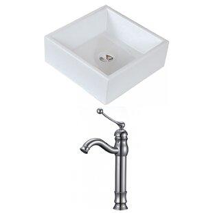 Bargain Ceramic Square Vessel Bathroom Sink with Faucet ByRoyal Purple Bath Kitchen