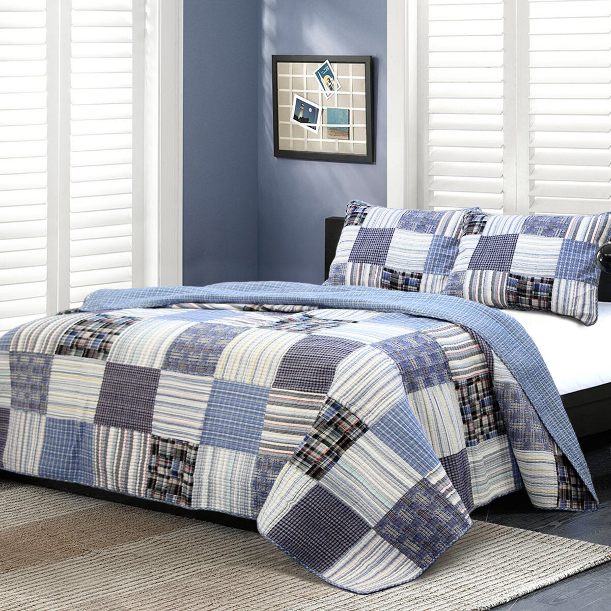 cozy line home fashion daniel striped patchwork quilt set