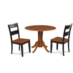 Severus 3 Piece Drop Leaf Solid Wood Dining Set Millwood Pines