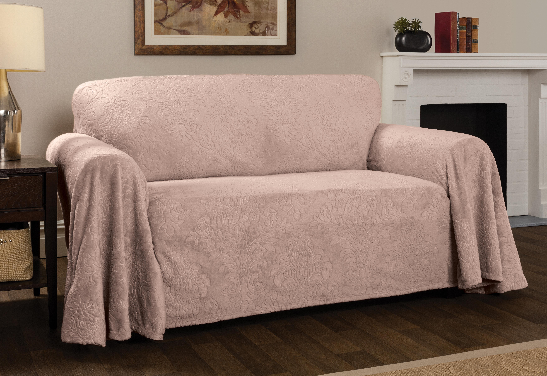 Winston Porter Plush Damask Throw Sofa