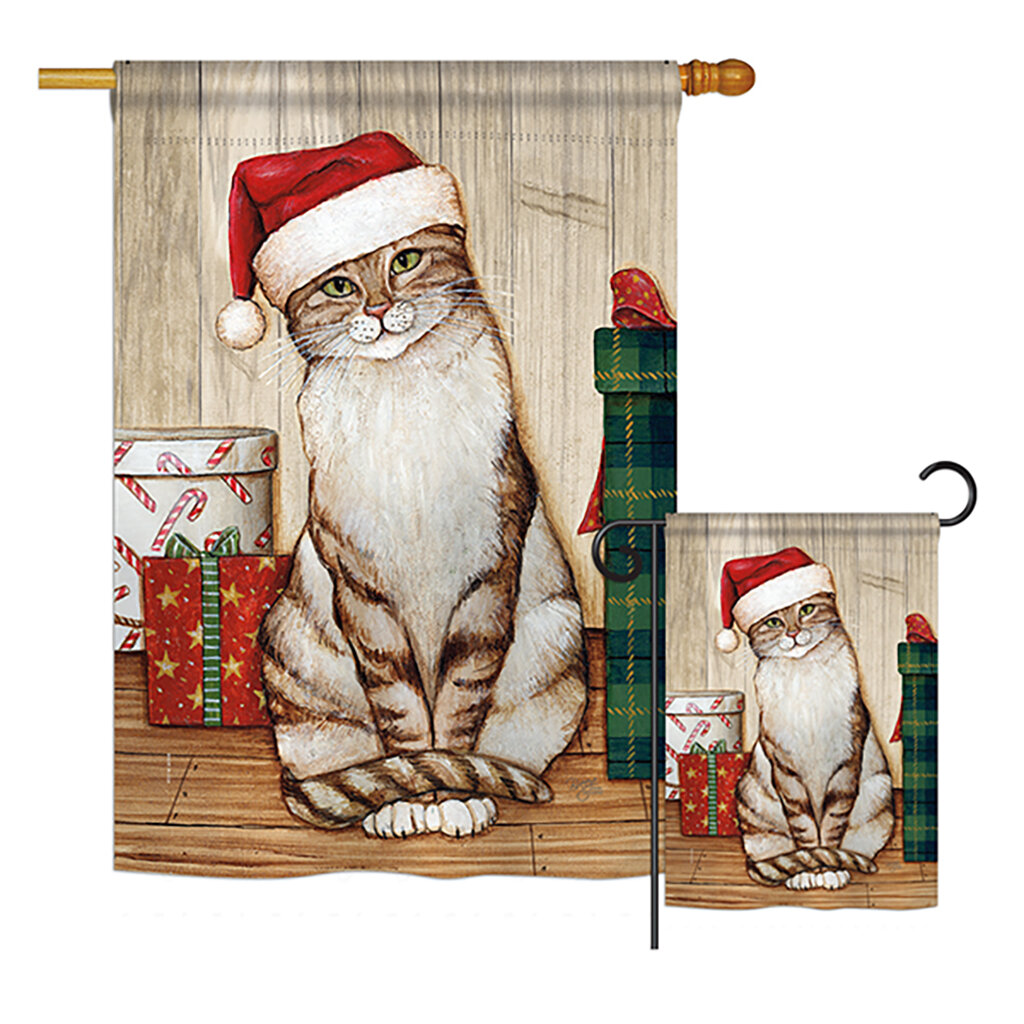 Breeze Decor Christmas Kitty Winter Christmas Impressions 2 Sided Polyester 40 X 28 In Flag Set Wayfair