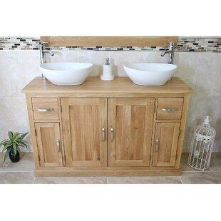 Egan Solid Oak 123mm Free-Standing Vanity Unit By Gracie Oaks