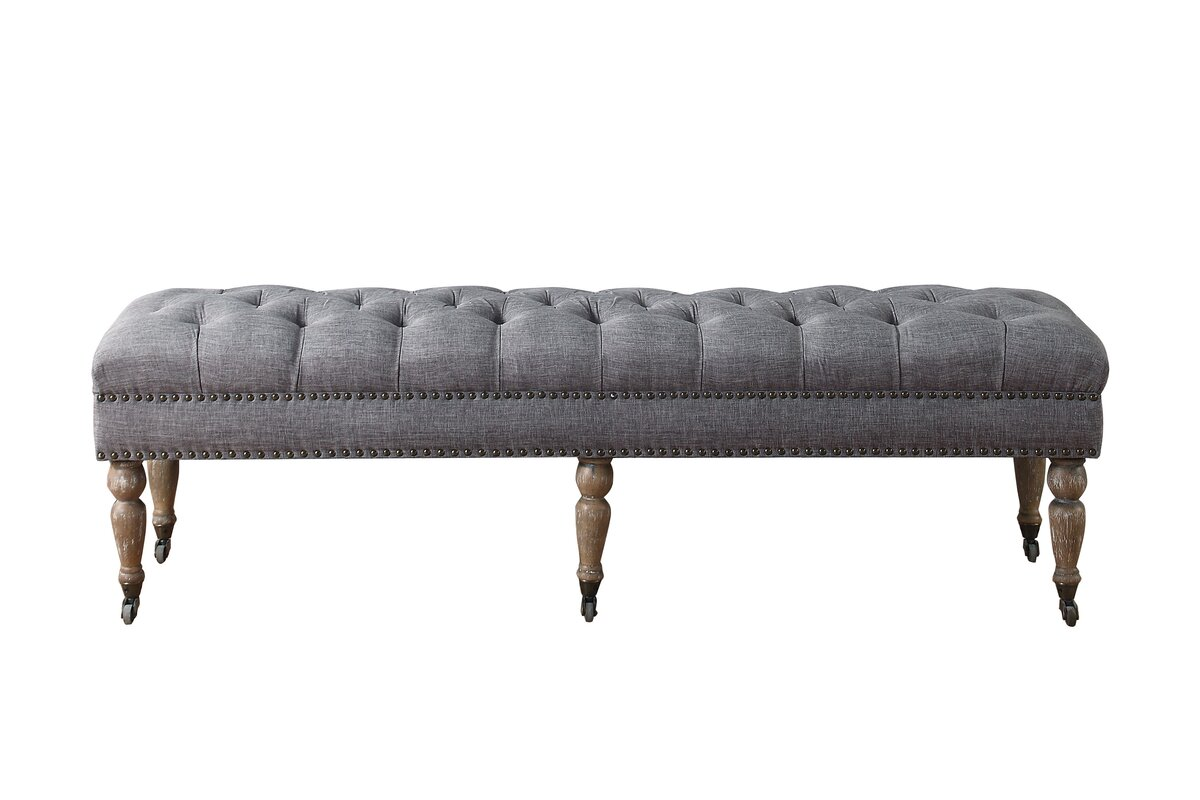 Walkerton Upholstered Bench - Shop Drew's Honeymoon House {Guest Bedrooms} #tuftedbench #greybench #PropertyBrothers