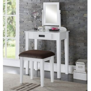 A&J Homes Studio Hermosa Vanity Set with Mirror