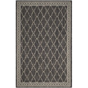Oswald Hand Tufted Black/Beige Indoor/Outdoor Rug By Canora Grey
