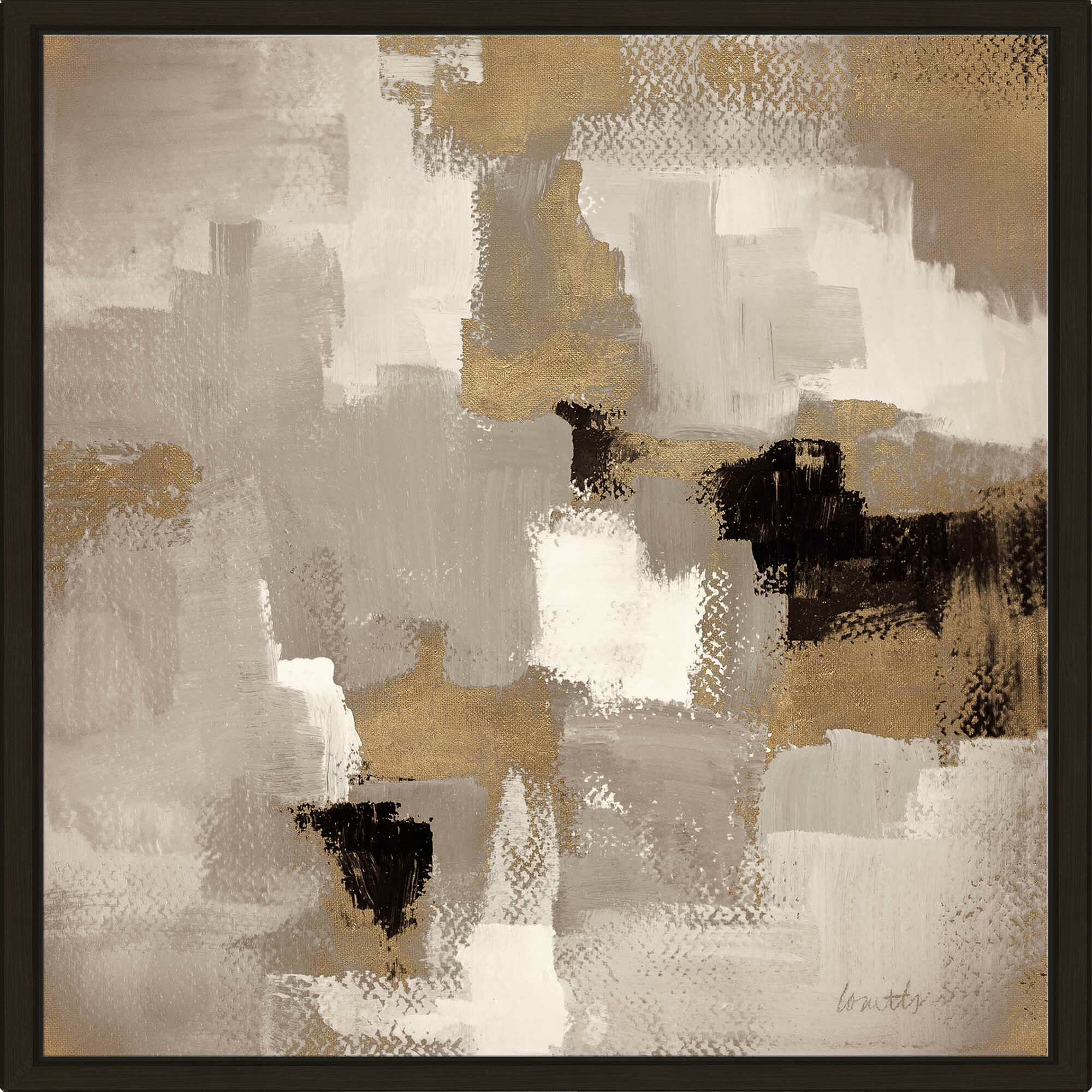 Muted Abstract I Framed Acrylic Painting Print On Canvas