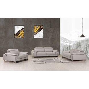Orren Ellis Allon 3 Piece Leather Living ..