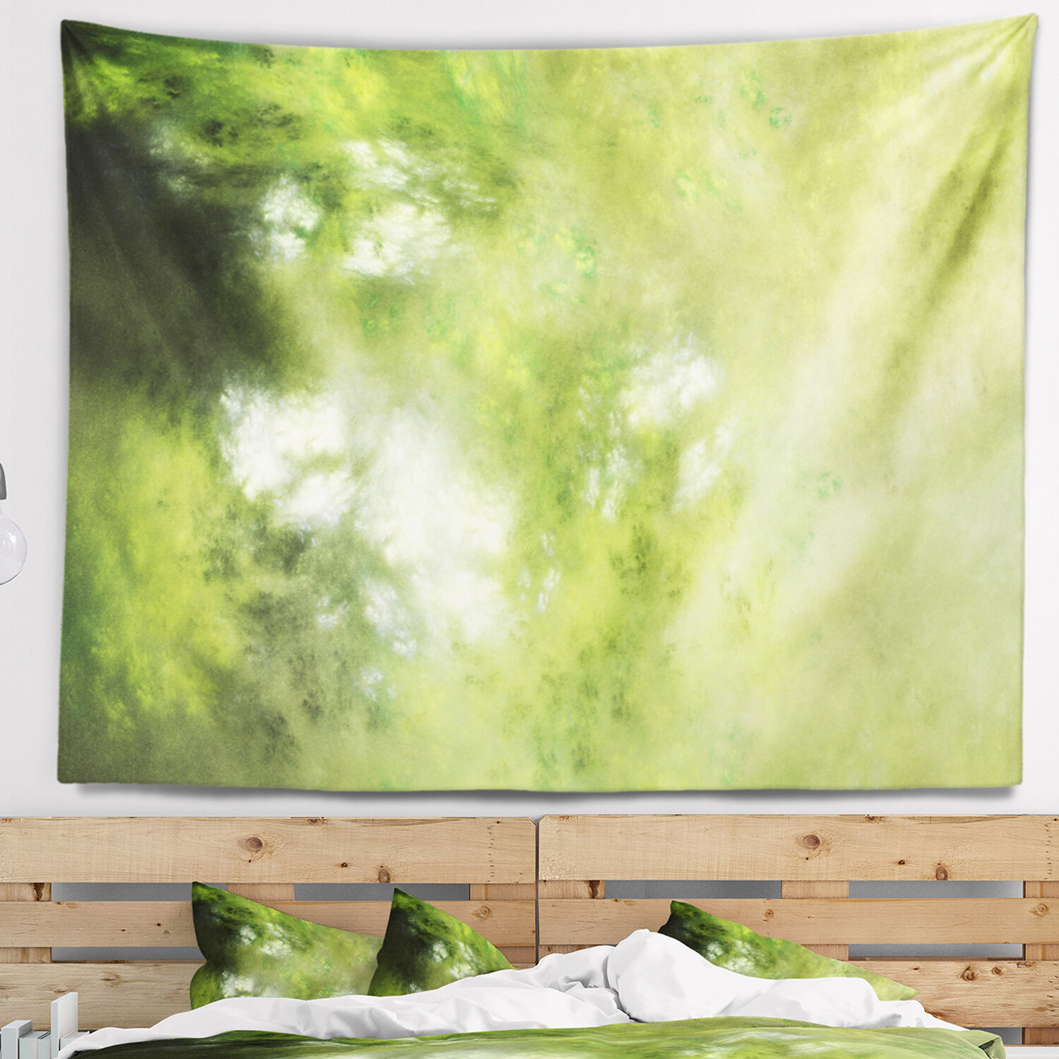 East Urban Home Abstract Blur Green Sky with Stars Tapestry and Wall ...