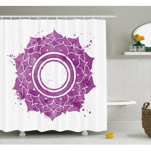 Kyoto Chakra Watercolor Flower With Sketch Splashes Around Universe Ethereal Artwork Single Shower Curtain