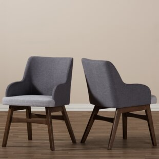 Baxton Studio Mona Mid-Century Modern Fabric Arm Chair (Set of 2)