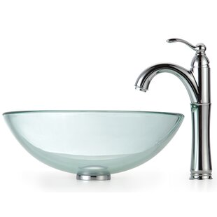 Purchase Clear Glass Glass Circular Vessel Bathroom Sink with Faucet By Kraus