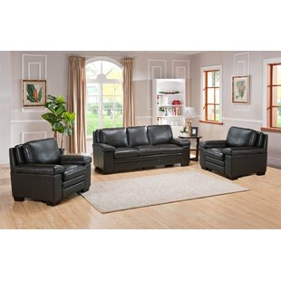 World Menagerie Devry 3 Piece Leather Living Room Set