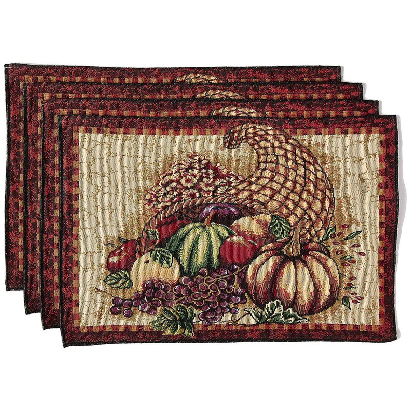 The Holiday Aisle Marcelino Cornucopia With Pumpkins And Fruit 19 Placemat Reviews Wayfair