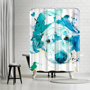 Allison Gray Labrador Retriever Single Shower Curtain by East Urban Home New