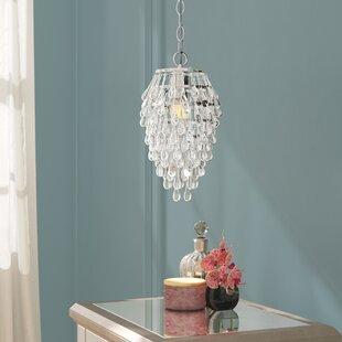 Willa Arlo Interiors Genivee Teardrop 1-Light Crystal Pendant