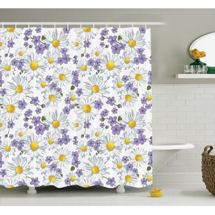 Wen Home Chamomile and Wild Flower Summer Natural Elegant Pattern Single Shower Curtain