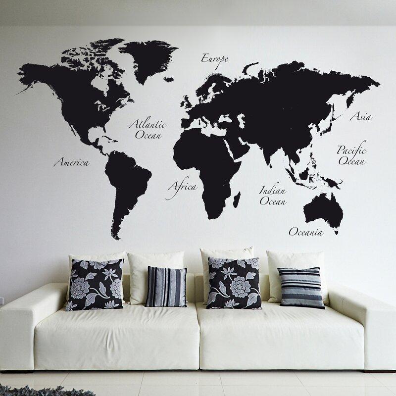 Full Wall World Map.Wallpops World Map Wall Decal Reviews Wayfair