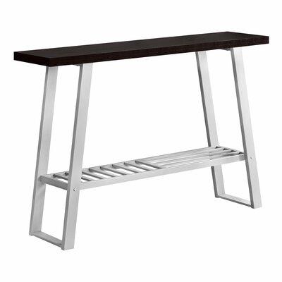 Ebern Designs Camarillo Console Table Table Base Color: Silver, Table Top Color: Cappuccino