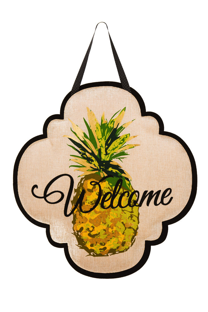 Charlton Home Columbard Welcome Pineapple Wall Décor | Wayfair